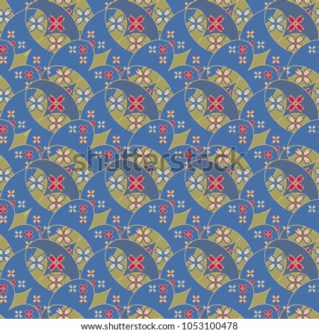 New color seamless pattern with many flower.