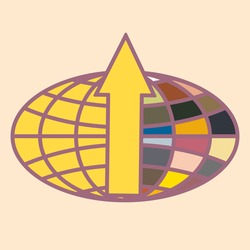 New colorful icon with WWW globe with arrow.