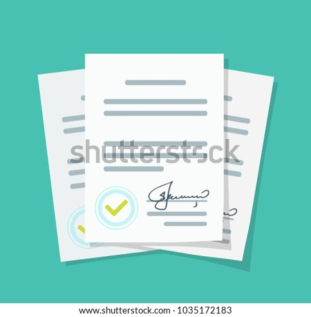 New Contract documents pile in flat design Stack of paperwork with approval stamp, Concept of agreement documents, business documents with signature.