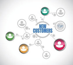 new customers people diagram sign concept illustration design over white