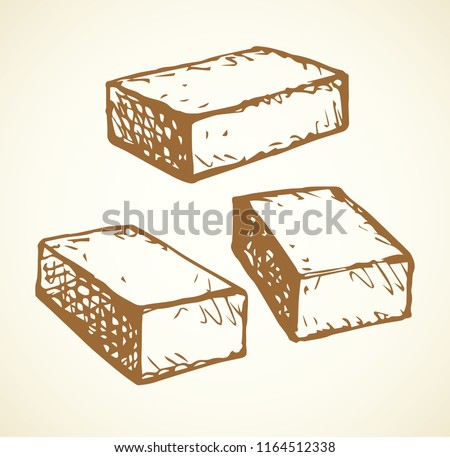 New cute single house airbrick diy on light backdrop. Freehand outline black ink hand drawn design concept object emblem sketchy in vintage art scribble style pen on paper space for text. Closeup view