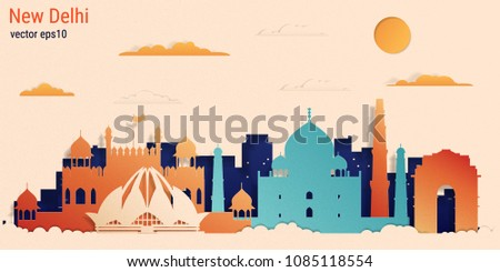 New Delhi city colorful paper cut style, vector stock illustration. Cityscape with all famous buildings. Skyline New Delhi city composition for design