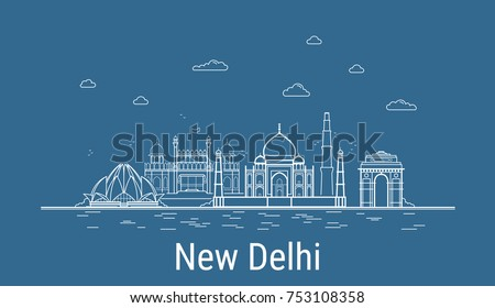 New Delhi city, Line Art Vector illustration with all famous buildings. Linear Banner with Showplace. Composition of Modern cityscape. New Delhi buildings set