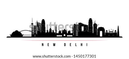 New Delhi city skyline horizontal banner. Black and white silhouette of New Delhi city, India. Vector template for your design.