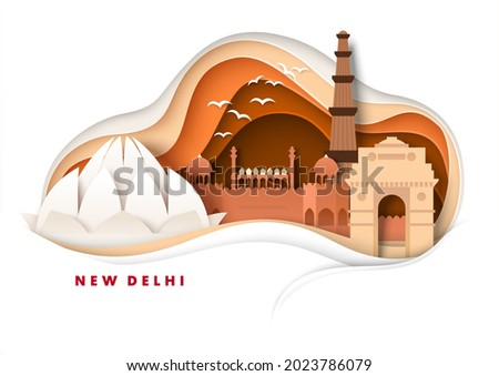 New Delhi city skyline, vector illustration in paper art style. India Gate, Lotus Temple, world famous landmarks and tourist attractions in Delhi. Global travel.