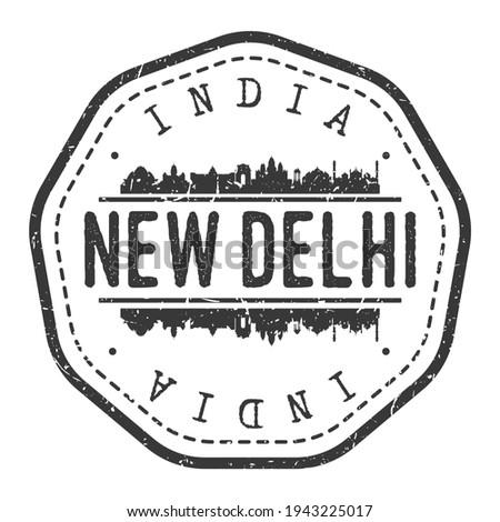 New Delhi, Delhi, India Stamp Skyline Postmark. Silhouette Postal Passport. City Round Vector Icon. Vintage Postage Design.