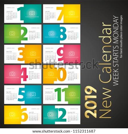 New Desk Calendar 2019 week starts monday landscape background