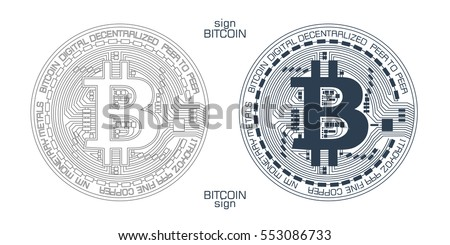 new digital currency sign with detailed system showing stylized block-chain technology