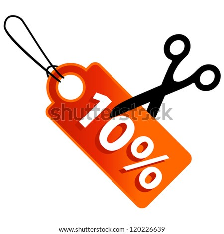 New discount in some percent and scissors