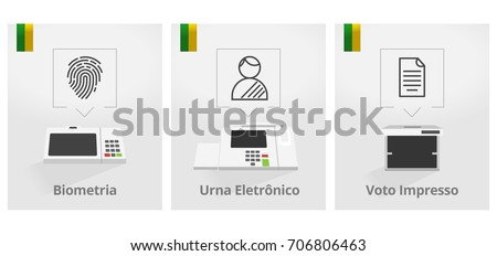 New electronic machine Brazilian voting urn illustration - Biometry - Electronic Vote - Voting Printed
