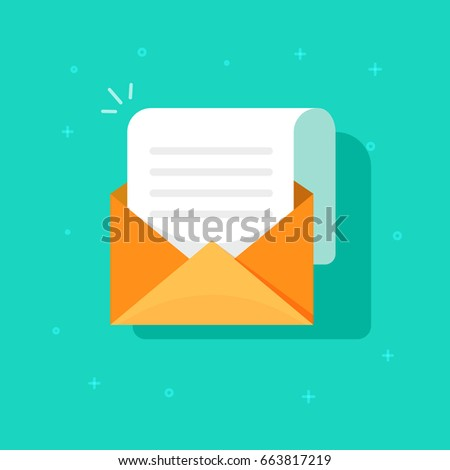 New email message icon isolated, flat carton envelope with open mail correspondence,  e-mail letter clipart