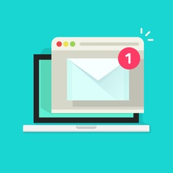 New email notice on laptop computer receiving with browser and envelope vector illustration symbol, online service, notification, electronic mail, new message, flat cartoon design isolated on blue