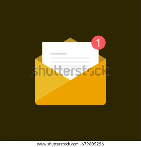 new email notification in in-box, illustration brown envelope with white paper and red bubble notification