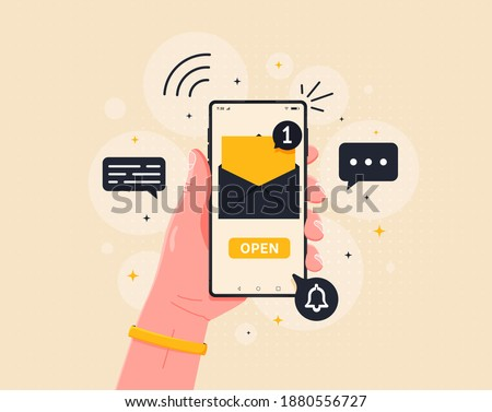 New email notification on mobile phone vector illustration, smartphone screen with new unread email and read envelope icons, inbox concept. Flat style vector illustration.