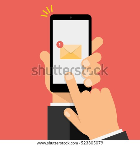 New Email Notification on smartphone screen. Hand holds the smartphone and finger touches screen. Modern Flat design illustration.