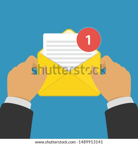 New Email or SMS message incoming. Hand holding envelope, letter. Mail notification or coming messages concept. Vector illustration in modern flat style. EPS 10.
