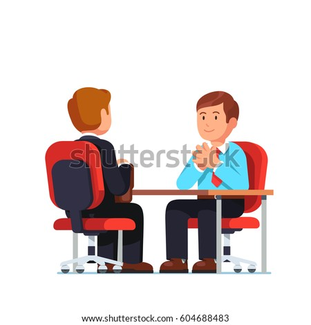 New employee applicant and boss meeting sitting at his desk holding hands together in raised steeple gesture of confidence. Job interview HR officer and candidate. Flat style isolated illustration.