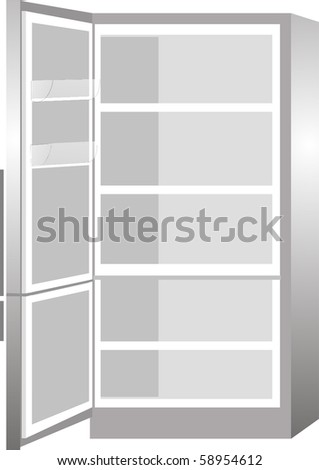 New empty refrigerator with the door open isolated on white background