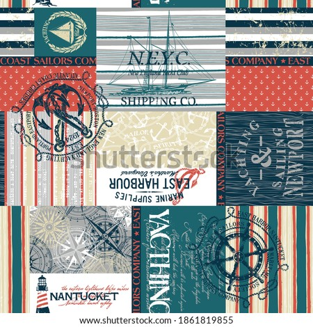 New England nautical yachting sailing sign symbol elements and fabric patchwork wallpaper abstract vector seamless pattern