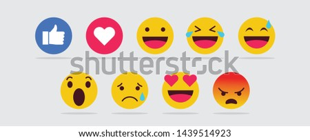 New Facebook like button 9 Empathetic Emoji Reactions printed on white paper. Facebook is a well-known social networking service