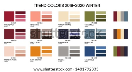 New fashion color trend winter 2019 2020. Color palette forecast of the future color trend