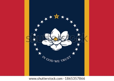 New flag of Mississippi - state of United States. Template for independence day