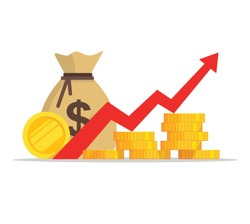 New Flat cartoon pile of cash. Profit, benefits money or budget, rising graph arrow up, business success concept, economic and market growth, investment revenue, capital earnings Vector EPS 10