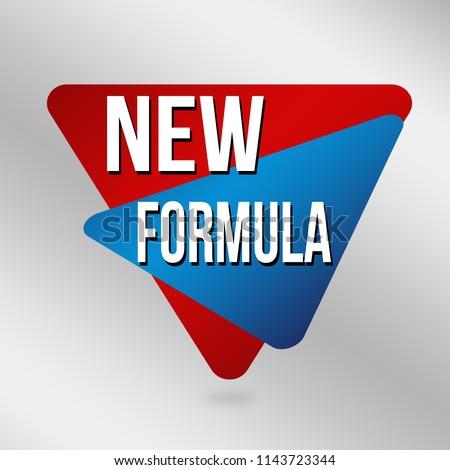 New formula sign or label on grey background, vector illustration