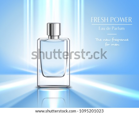 New fragrance for men perfume poster with vial of eau de parfum  on blue background and fresh power headline realistic vector illustration