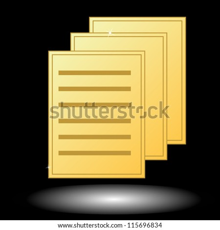 New gold document on a black background