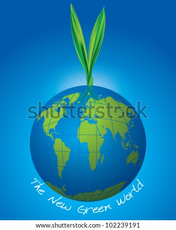 New Green World - stock vector