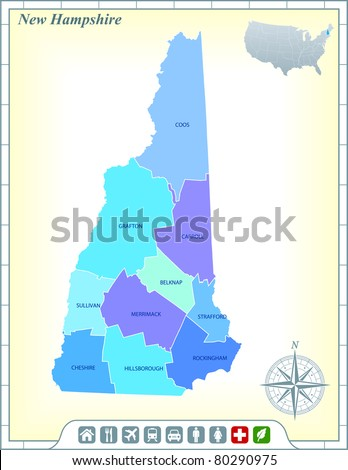 New Hampshire State Map with Community Assistance and Activates Icons Original Illustration