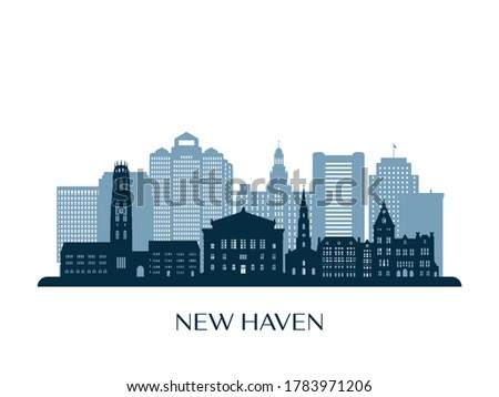 new haven skyline  monochrome