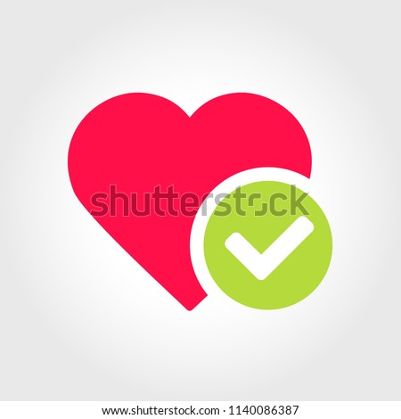 New Heart tick icon, cartoon flat design healthy heart with checkmark symbol, Medicines for heart, great lifestyle, idea of confirmed/approved good health condition Vector illustration EPS 10