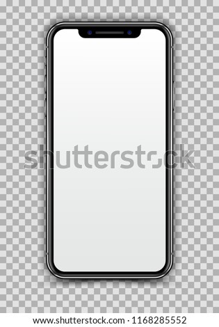 New High Detailed Realistic Black Slim Smartphone isolated on White Screen. Front View Display Bezel Less Phone.  Blank Device Mock Up. Separate Groups and Layers. Easily  Editable Vector. EPS 10.