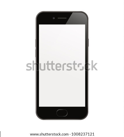 New High Detailed Realistic Smartphone Isolated on white Background. Display Front View. Device Mockup Separate Groups and Layers. Easily Editable Vector. EPS 10.