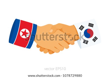 New hopeful friendship of North Korea and South Korea. Vector icon of handshake symbolizes a peace talks. Isolated sign of two hands of leaders. Sleeves are decorated by flags of East Asian countries.