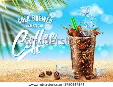 New Iced coffee ads on summer ocean beach scene. Cold brewed drink in 3d illustration Photo stock ©