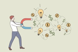 New idea, business success, money earning concept. Young businessman cartoon character standing and attracting money profit and development in ideas with magnet vector illustration