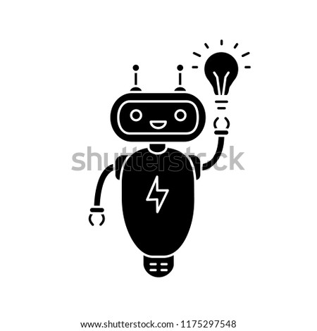 New idea chatbot glyph icon. Silhouette symbol. Talkbot with lightbulb. Virtual assistant. Modern robot. Online support chat bot. Negative space. Vector isolated illustration