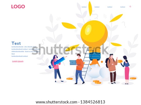 New idea or startup concept, vector illustration. Bulb  glowing rocket launch. Small people grow plants, ideas, people characters develop creative business idea, innovation.