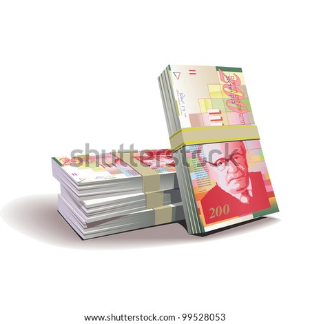 New Israeli Shekel banknotes vector illustration in color, financial theme ; isolated on background.