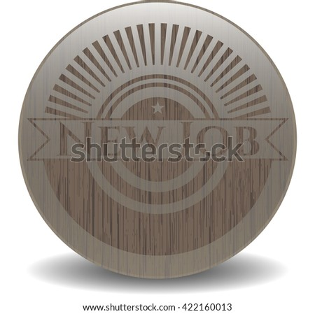 New Job badge with wood background