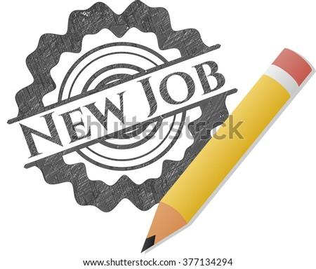 New Job emblem drawn in pencil