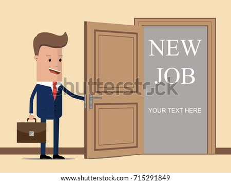 New job for businessman. Man opens door looking for work. Successful businessman in suit with briefcase. Beginning of business career. Vector illustration