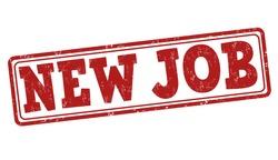 New job grunge rubber stamp on white, vector illustration