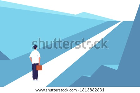 New journey concept. Highway road abstract person standing outdoor business opportunities vector flat background