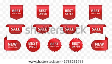 New labels and ribbon sale badges. Newest product red banner ribbons, price shopping tags. Promotion sale badges, special offer stickers vector exclusive bookmark set