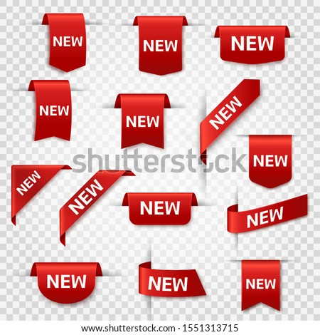 New labels. Newest product red banner ribbons, price shopping tags. Promotion sale badges, special offer stickers vector exclusive bookmark set