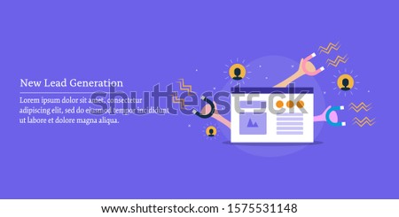 New lead generation, Lead marketing, Inbound strategy, Customer attraction - flat design vector banner with icons and texts